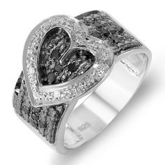 Thanks for Sharing!  0.33 Carat (ctw) Sterling Silver Buckle Heart Ladies Round Black and White Diamond Cocktail Right Hand Ring 1/3 CT - Dazzling Rock #https://www.pinterest.com/dazzlingrock/