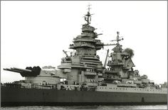Close-up of the central citadel on the French battleship Richelieu
