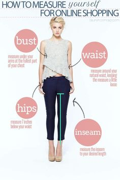 How to meausre yourself for online shopping. Your bust, waist, hips and iseam measurement are important to find the right clothes on the ecommerces. For more petite style tips visit http://petitestyleonline.com/category/petite-style-tips/