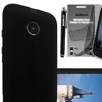 Motorola Moto E Rubber Snap On Cover Case - Black with Free HD Screen Protector…