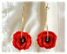 Poppy Gold Filled Hoop Earrings  Red Flower by strandedtreasures, $24.00