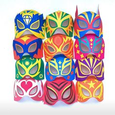 Lucha libre masks! Printable templates by happythought.co.uk