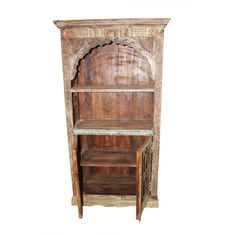 Antique arch Bookshelf, wooden Rustic Bookcase Indian handcarved Furniture Your Home Decor Idea. Rustic Bookcase, Antique Bookcase, Bookshelves, Hand Carved, Arch, Carving, Indian, Antiques, Furniture