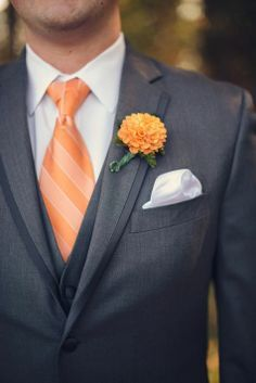 navy and orange groomsmen