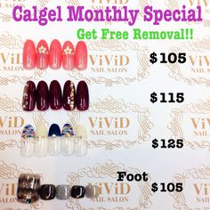 April 2016  $105 white flowers match perfectly with the nice peachy pink   $115 bold colour is one of the most popular colour in winter season with sparkle! $125 autumn design with the knitting texture French nail  Foot$105 have peacock art and enjoy the pedicure even it's getting cooler☆ (With mini pedicure ex$15,With full pedicure ex$35)  Calgel monthly special*Free Removal of Calgel By choosing one of the design below and get free removal($30) The colour could be changed with your…