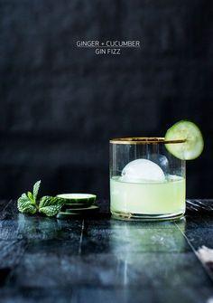 #cocktails   ginger + cucumber gin fizz