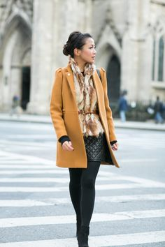 Revenge on Winter :: Mustard coat. Love the coat with the fur vest and quilted skirt Fall Winter Outfits, Autumn Winter Fashion, Autumn Style, Fashion Fall, Spring Style, Style Fashion, Wendy's Lookbook, Quilted Skirt, Fashion Outfits