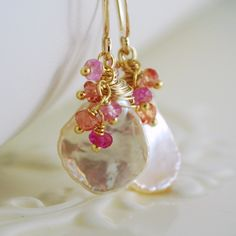 Keshi Keishi Pearl Earrings Padparadscha Sapphire Gemstone Genuine Pink Rubies Coral Peach Wire Wrapped Gold Jewelry Complimentary Shipping. $62.00, via Etsy.