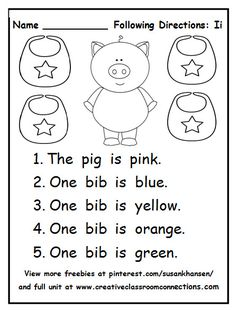This following directions worksheet provides students practice reading color and short vowel words.  A full unit is available at pinterest.com/susankhansen/