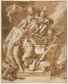 The Virgin and Child Enthroned with Saint Sebastian and a Franciscan Saint Giovanni Battista Tiepolo