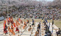 "Samurai battling on a chess board ""Ningen Shogi"" in Tendo City Japan"
