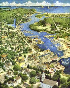 bird's eye view of Kennebunkport, Maine. We were only there a few hours passing through. I'd love to go back for a longer visit. Vacation Places, Vacation Destinations, Vacation Spots, New Hampshire, Kennebunkport Maine, England, Birds Eye View, Aerial View, Adventure Travel