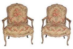 Louis XV-Style Floral Armchairs, Pair