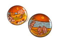 Vintage wall plates Mid Century Modern Italian pottery orange tangerine 60s wall decor set maiolica beach