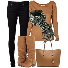 Camel and black - Polyvore