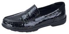 Black patent loafers - best shoes ever. (http://www.aetrex.com/essence-kimberly-loafer-black-patent-croc/)