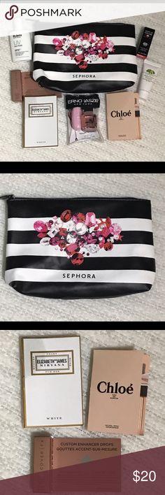 Sephora Favorites Makeup Bag Set Sampler Everything pictured is included! Brands include Cover FX, Chloe, Elizabeth and James, Erno Laszlo New York, Dr. Jart, Makeup Forever, Origins 🚫 NO TRADES 🚫 Sephora Makeup