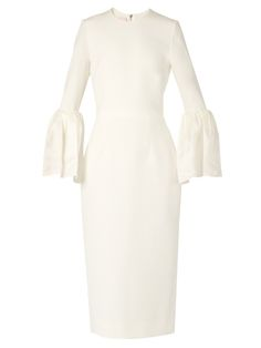ROKSANDA Margot Bell-Sleeved Cady Dress. #roksanda #cloth #dress