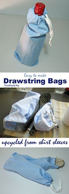 Learn how to turn the sleeves of a button down shirt into a drawstring bag - upcycle, refashion - tutorial at Threading My Way