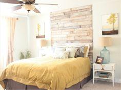 Palette Headboard - a cheap venture to beautify your bedroom Rustic Color Schemes, Rustic Colors, Cozy Bedroom, Master Bedroom, Bedroom Decor, Bedroom Ideas, Pallett Headboard, Loft, Interior Design