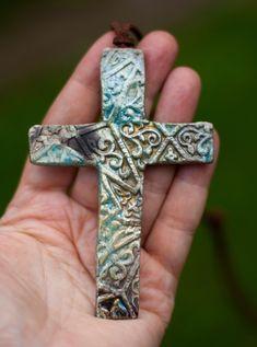 Cross necklace, ceramic cross, mens necklace, cross necklase woman, raku ceramic cross, ceramic jewelry, Christian cross, Christian jewelry