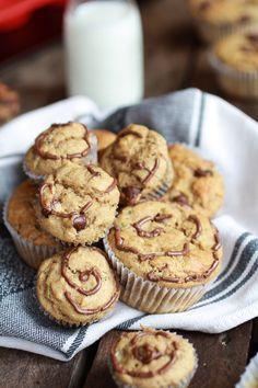 Nutella Stuffed Whole Wheat Peanut Butter Banana and Zucchini Muffins - Half Baked Harvest Chocolate Chip Banana Bread, Peanut Butter Banana, Snack Recipes, Dessert Recipes, Breakfast Recipes, Snacks, Healthy Recipes, Muffin Recipes, Healthy Foods