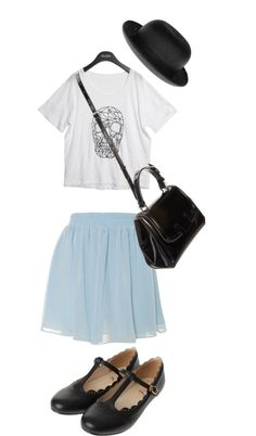 """""""Untitled #219"""" by oceantides on Polyvore black hat, white T-shirt, denim skirt, Mary jane shoes"""