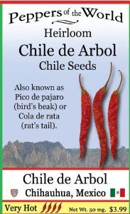 "Chile De Arbol Chili Seeds - 30 - Popular in Mexico - Heirloom From Oaxaca and Jalisco by Sandia Seed Company. $3.99. Narrow 3"" fruits grow on 'tree-like' woody plants that grow quickly.. Very hot and also known as 'bird beak' or 'rat tail'.. All peppers are perennials if they don't freeze. This plant can grow 4 ft per year.. Very productive plant and pods dry well.. Chile de Arbol - Capsicum annuum (90 days) Pendent shaped fruits grow on large plants. Can start s..."