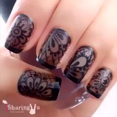 All About Nail Designs and Nail Art Nail designs or nail art is a very simple concept - designs or art that is used to decorate the finger or toe nails. They are used predomina Lace Nail Art, Lace Nails, Henna Nail Art, Nail Art Designs Videos, Nail Art Videos, Jolie Nail Art, Witchy Nails, Nagellack Design, Mandala Nails