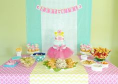 Love these colors together for a sweets table at a girls party or baby shower