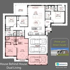 Discover our entire range of Dual Occupancy House Plans designed for the Perth metro area . We offer Double Storey and house behind house special purpose duplex style designs. Duplex Floor Plans, Home Design Floor Plans, House Floor Plans, Family House Plans, Dream House Plans, Family Homes, House With Granny Flat, Mother In Law Apartment, Duplex Design