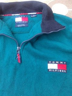vintage Tommy Hilfiger fleece jacket 1/4 zipper teal mens size XL  #tommyhilfiger #FleeceJacket