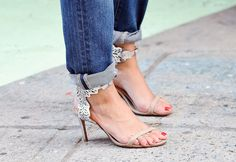 Best Street Style Shoes and Bags from Fashion Week Spring 2015 - New York Fashion Week - You wouldn't forget to cuff your jeans when you're sporting strappy sandals with details this pretty.