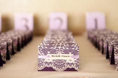 lace and purple wedding place cards