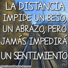 La distancia impide un beso, un abrazo, pero jamás impedirá un sentimiento. Romance, Motivation, Quotes, Gifs, Tumblr, Bikini, Truths, Kisses And Hugs, Pretty Quotes