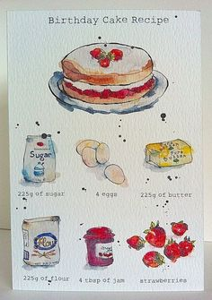 Items similar to Birthday Card - Cake Recipe - Kitchen art - from Original Illustration on Etsy Cake Drawing, Food Drawing, Watercolor Food, Watercolor Illustration, Arte Copic, Birthday Cake Illustration, Recipe Drawing, Birthday Cards, Cake Birthday