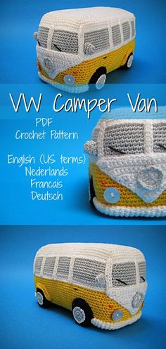 VW Camper Van pdf crochet pattern. This VW Bus amigurumi stuffed toy is so cute!  #volkswagen #volkswagenbus #amigurumi #plushie #etsy #affiliate
