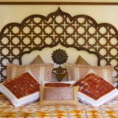 love the wooden jali headboard Indian homes. Indian decor. Traditional indian interiors. Ethnic decor. Indian architecture. Interior design india. Carved indian furniture. Contemporary indian design. Architect India.