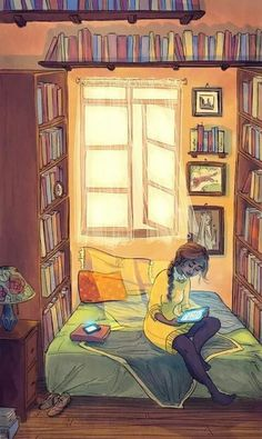 Strange. She has all those books surrounding her yet she's on an ereader and her phone is lit up?