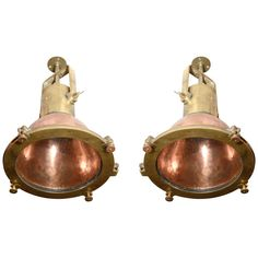 Copper & Brass Nautical Pendant Lights  Netherlands  1930's  Pair of reconditioned Nautical Pendant Lights from a Dutch Naval Vessel.