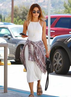 Vanessa Hudgens in a white dress, plaid shirt, round sunnies, and Birks.