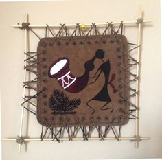 Warli Indian Art Handicraft Hand Painted Warli Painting of India Tribal Art Warli, Leather Wall Hanging, Wall Art