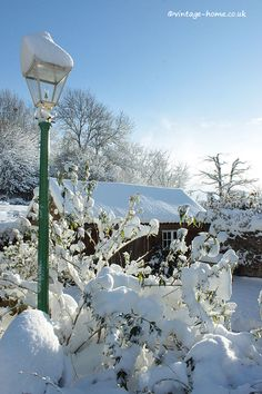 Snow-capped Lamp Post and Cider Barn December 2017. www.vintage-home.co.uk