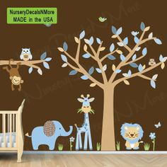 Repositionable Baby Boy Room Jungle Wall Decals, Boy Room Wall Decals (Blue Brown)