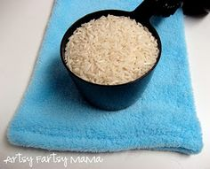 homemade rice bag- for hot or cold. cute card to go with, too
