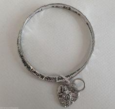 Mothers Daughters Bracelet Bangle  Everlasting Bond Heart Ring Charms Metal Love #DavenportDesigns #BangleCharm