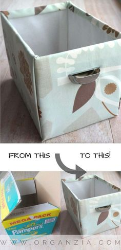Make this simple DIY fabric basket from an old diaper box. - Home Decoration Craft Room Storage, Fabric Storage, Diy Storage, Cardboard Storage, Storage Ideas, Cheap Diy Home Decor, Fabric Basket Tutorial, Purse Tutorial, Sewing Projects