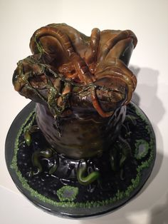 Alien Egg Cake!  Complete with fondant Face Hugger!