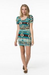 AOP S/S MINI DRESS W/ BELT