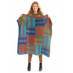 Give your room a little color with this fun color blocks afghan featuring Lion Brand® Heartland ...